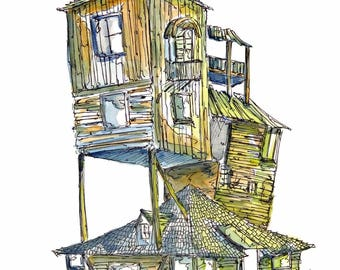 The Burrow, Watercolour and Ink PRINT