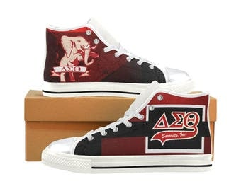 Delta Sigma Theta Canvas High Top / Low Top Sneakers (shoe runs large, view size chart)