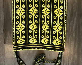 Authentic Hand Woven HUICHOL BAG -Yellow and Black