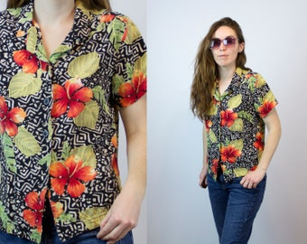 1990s Hawaiian/Tribal Print Inspired Top