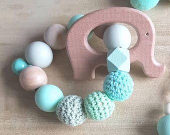 Mint baby teething ring rattle