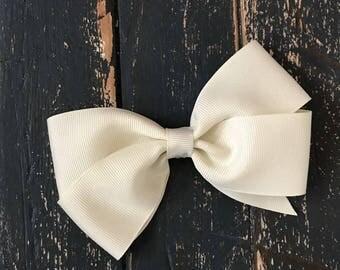 5 Inch Beige Pinwheel Hair Bow