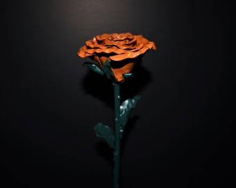 orange metal rose