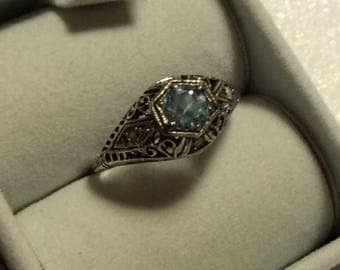 1/2 Carat Aquamarine Ring in Sterling - Victorian Style