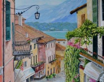 Digital Oil Painting old towm mediterranean sea cafe summer  landscape