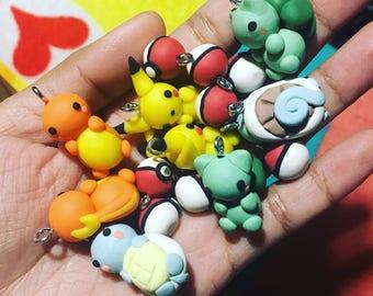 Pokémon Charms made of polymer clay (Pikachu, Charmander, Squirtle, Bulbasaur)