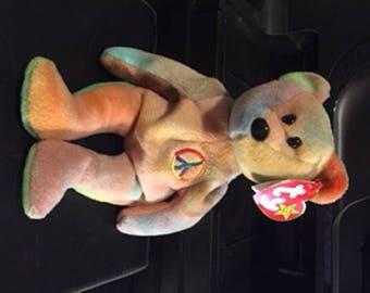 RARE TY Peace Bear Beanie Baby Multiple Errors