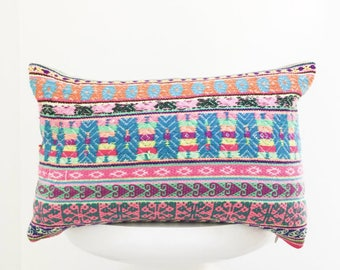 authentic Peruvian handmade pillow cover colorful decorative throw pillow peru embroidered bohemian boho cushion cover