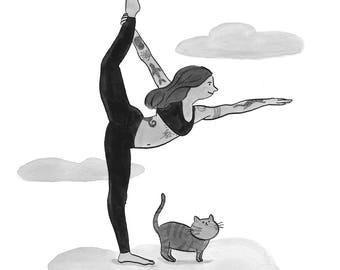 A4 - Yoga-Tänzer-Pose mit einer Katze, Art Print von Deborah Pinto