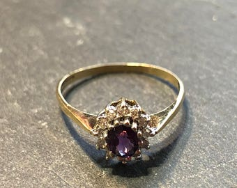 Victorian Antique 18ct Solid Gold Amehytist and diamond Ring