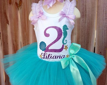 Under The Sea Purple Aqua and Gold Custom First Second Third Birthday Tutu Outfit Free Personalization