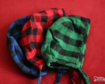 Reversible baby bonnet - SQUARE collection