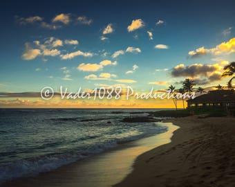 Sunset On The Beach, Kauai Hawaii