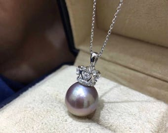 11.5mm Semi Round Genuine Mauve Color Edison Pearl with 925 Sterling Silver Chain Necklace,Single Drop Pink Baroque Pearl Bridal Necklace