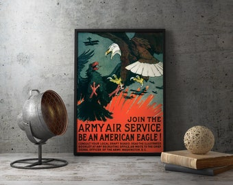 "American propaganda WW1 poster ""Join The Army Air Service"" - WWI Militaria, antique militaria, military, wwi fighter plane, us propaganda"