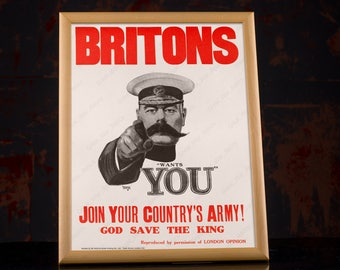 Lord Kitchener Print - WW1 Recruiting Poster WWI - Britons Wants You - British propaganda recruitment vintage posters, army men gift idea