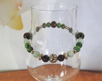 Natural Amazonite, Ruby in Zoisite & Green Malaysian Jade healing gemstone stretch bracelet with butterfly spacer.