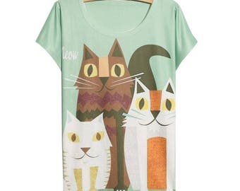 Cute Cat Kitten Animal Cartoon Character T shirt tees top cool printed high quality material and print