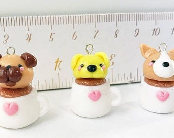 Pups in Cups : miniature corgi, yellow lab, pug