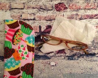 Cupcake Eyeglass Case / Unisex Eyeglass Case / Kids Eyeglass Case