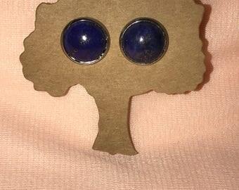 Dark Blue Lapis Lazuli Stud Ear Rings
