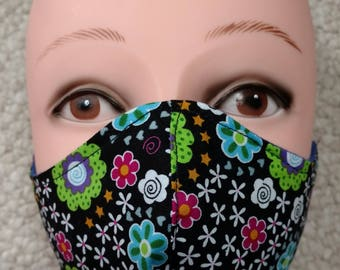 Floral Mask Handmade Flannel lined Cotton Medical Surgical Winter Washable