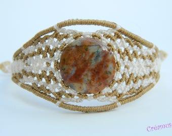 Woven macrame natural Jasper bracelet
