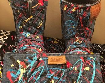 Paint Splattered Handbag w/Boots