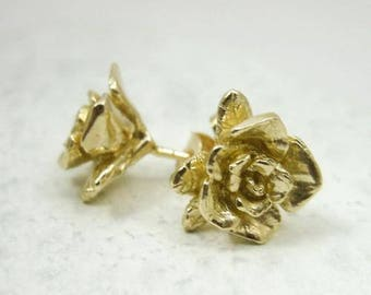Solid 10K Yellow Gold Handcarved Rose Flower Stud Earrings, 2.9 grams, Artisan