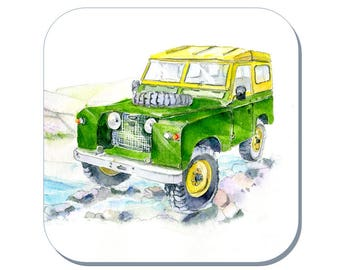 Land Rover Defender - Car Coaster (Corked Back). From an original Sheila Gill Watercolour Painting