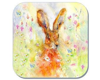 Spring Hare - Hare Coaster (Corked Back). From an original Sheila Gill Watercolour Painting