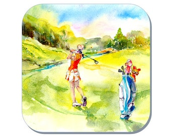 On the Green - Ladies Golf Coaster (Corked Back). From an original Sheila Gill Watercolour Painting