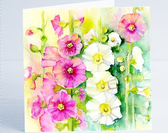 Hollyhocks Flower Greeting Card by Sheila Gill