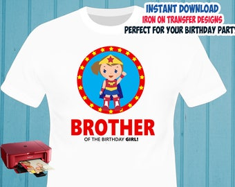 Superhero Girl , BROTHER , Iron On Transfer , Superhero Birthday Shirt Design , DIY Shirt Transfer , Digital Files , Instant Download