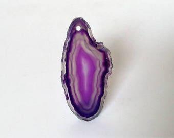 Purple and White Agate Pendant. Agate Slice Gemstone Pendant Semi-precious Pendant. Freeform stone Pendant