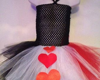 Queen of hearts tutu dress, fancy dress costume, dress up outfit, party tutu dress for girls