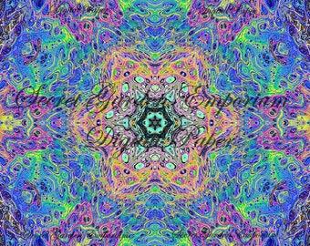 Digital Paper #26 - Original Scrapbook, Decorative Paper, with a Psychedelic Kaleidoscope  Pattern