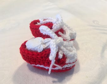 Red Crocheted Converse Style Baby Booties