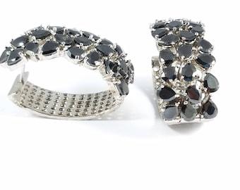 Black Cubic Zirconia Hoop Earrings