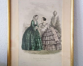 """Engraving """"young ladies journal"""" Golden/Engraving """"Diary of the Damsels"""" framed"""