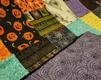 READY TO SHIP!  Halloween Patchwork Throw Quilt