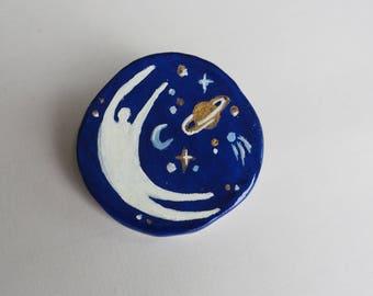 Midnight Blue cosmic Pin Badge