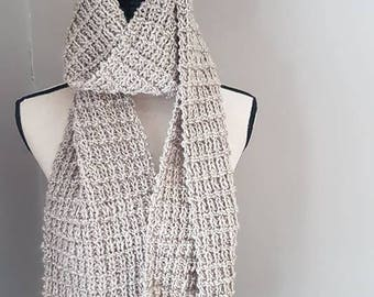 Hand knit scarf, light brown/beige, handmade ready to be shipped