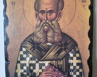 Saint/Agios Gregorios o Theologos. handmade wooden craft antiquate icon.