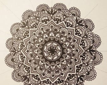 Mandala - A4 ink drawing print