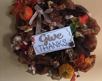 Give Thanks Thanksgiving Deco Mesh Wreath