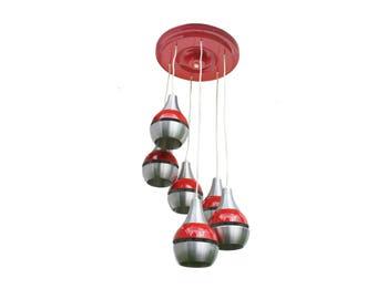 Italian Pop Art Lamp Sputnik Cascade Light Chandelier 1980s