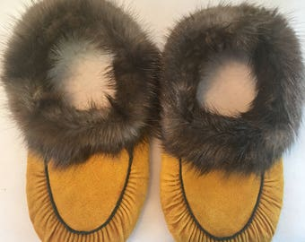 Mens Natural Mooshide Slippers