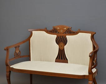 SN4188 Edwardian mahogany and inlaid settee / couch