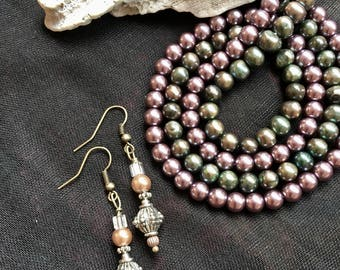 Pearl Earrings with silver bead accents